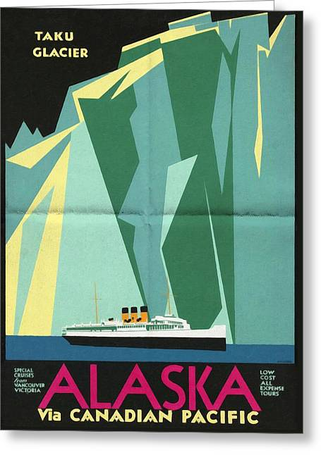 Alaska Canadian Pacific - Vintage Poster Folded Greeting Card