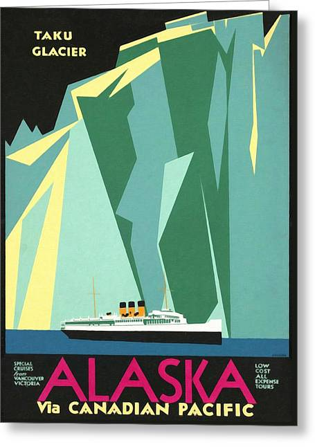 Alaska Canadian Pacific - Vintage Poster Restored Greeting Card