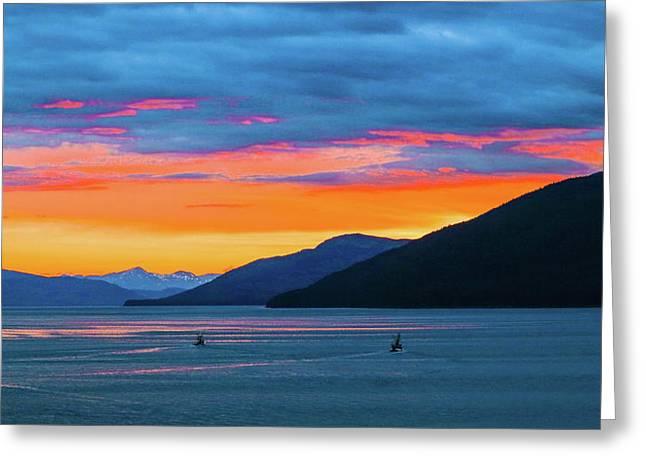 Alaska Fishermans Sunset Greeting Card