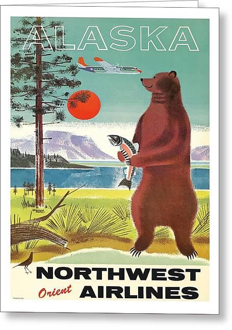 Alaska Kodiak Brown Grizzly Bear Vintage Airline Travel Poster Greeting Card