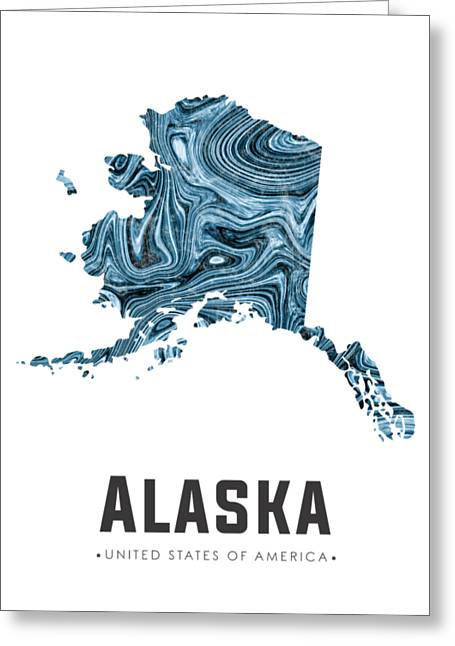 Alaska Map Art Abstract In Blue Greeting Card
