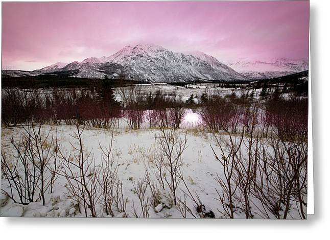 Alaska Range Pink Sky Greeting Card