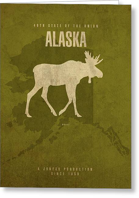 Alaska State Facts Minimalist Movie Poster Art Greeting Card by Design Turnpike