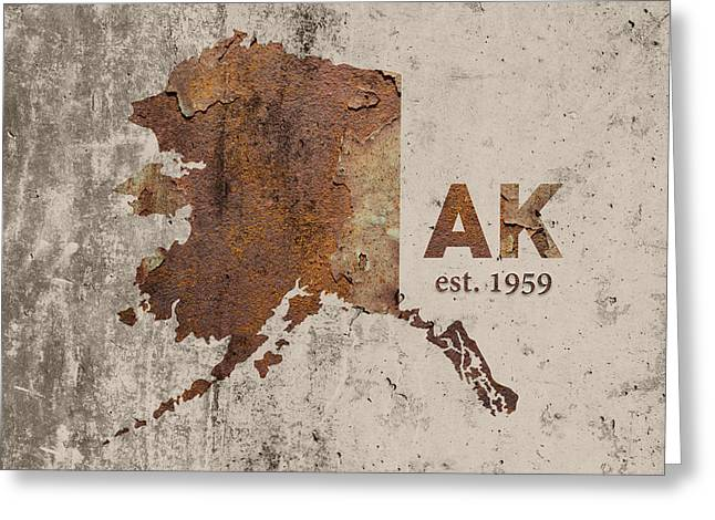 Alaska State Map Industrial Rusted Metal On Cement Wall With Founding Date Series 018 Greeting Card