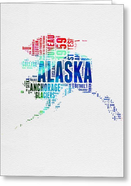 Alaska Watercolor Word Cloud  Greeting Card