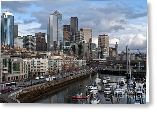 Alaska Way Seattle Skyline Greeting Card by Mike Reid