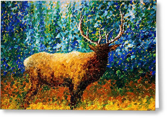 Alaskan Elk Original Madart Painting Greeting Card by Megan Duncanson