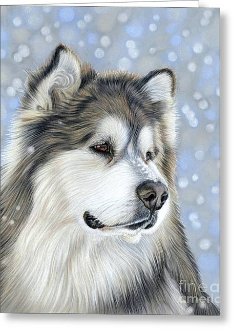 Greeting Card featuring the mixed media Alaskan Malamute by Donna Mulley