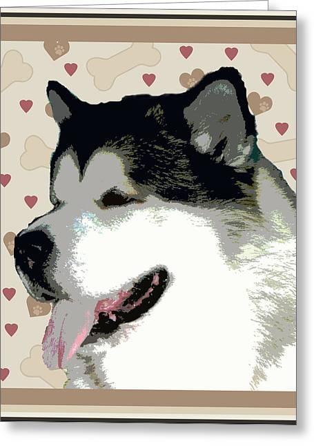 Alaskan Malamute Greeting Card by One Rude Dawg Orcutt