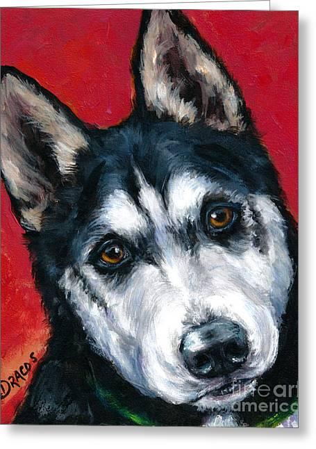 Alaskan Malamute Portrait On Red Greeting Card by Dottie Dracos