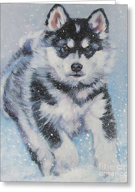 alaskan Malamute pup in snow Greeting Card by Lee Ann Shepard