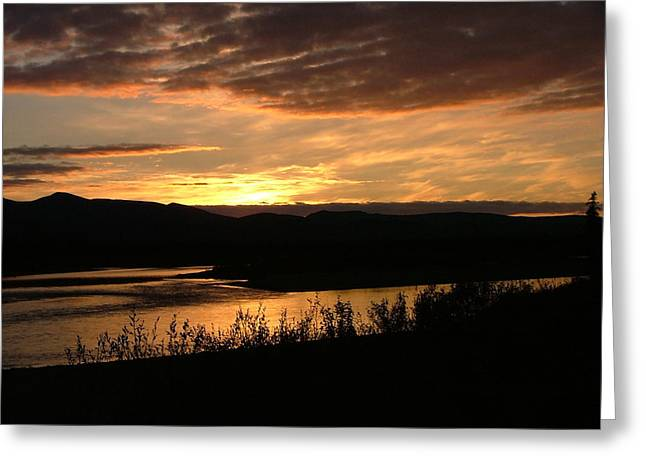 Alaskan Sunset Greeting Card by Adam Owen