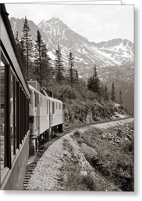 White Pyrography Greeting Cards - Alaskan Train Greeting Card by Will Edwards