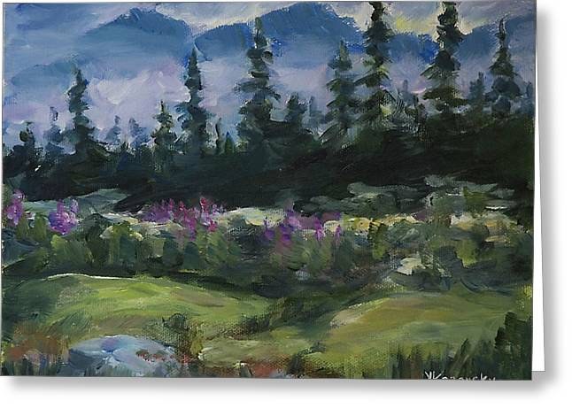 Greeting Card featuring the painting Alaskan Woods by Yulia Kazansky