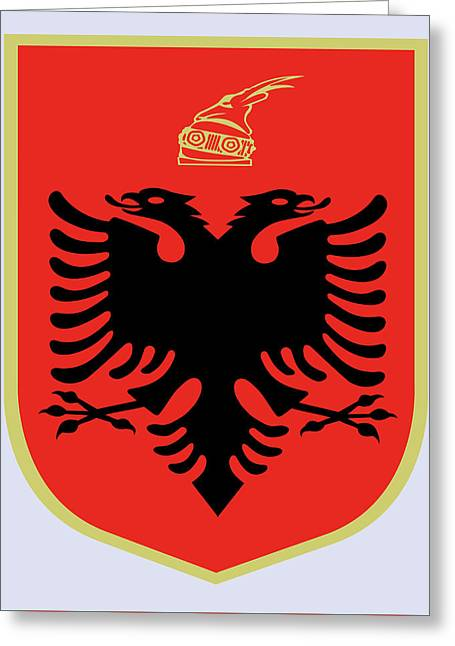 Greeting Card featuring the drawing Albania Coat Of Arms by Movie Poster Prints