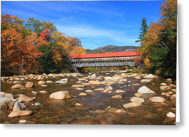 Covered Bridge Greeting Cards - Albany Covered Bridge Swift River Greeting Card by John Burk