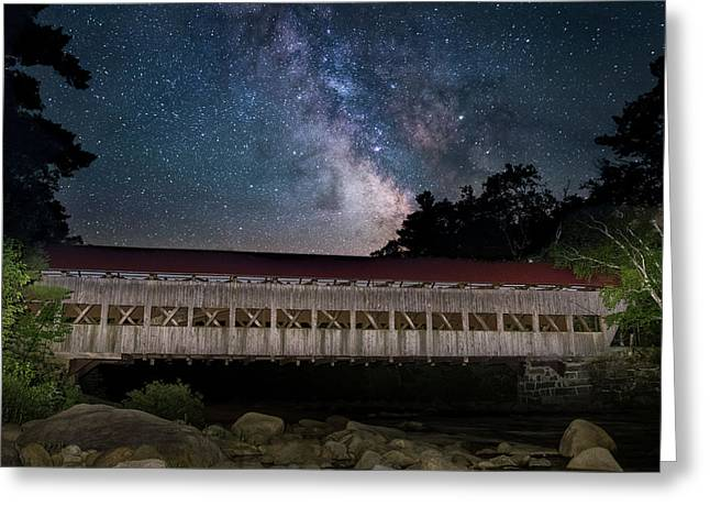 Albany Covered Bridge Under The Milky Way Greeting Card
