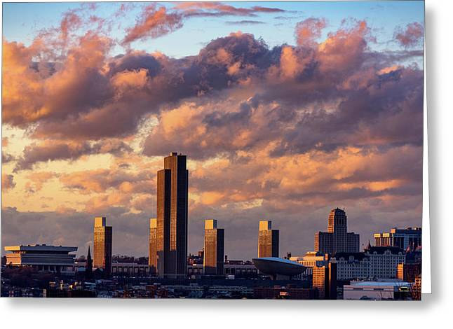 Albany Sunset Skyline Greeting Card