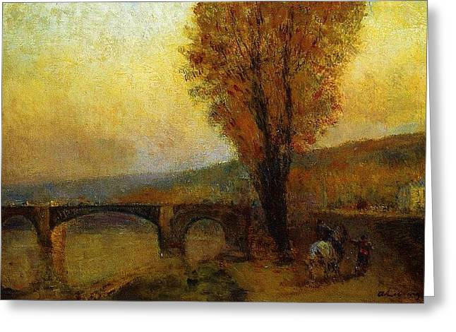 Albert-charles Lebourg - 	Bridge And Rider	 Greeting Card