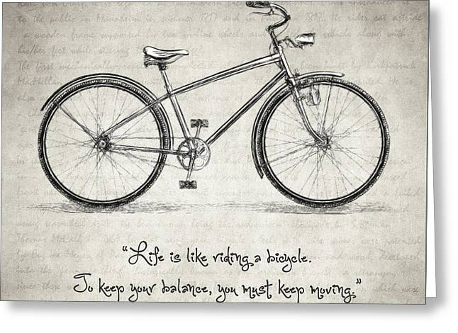 Albert Einstein Bicycle Quote Greeting Card