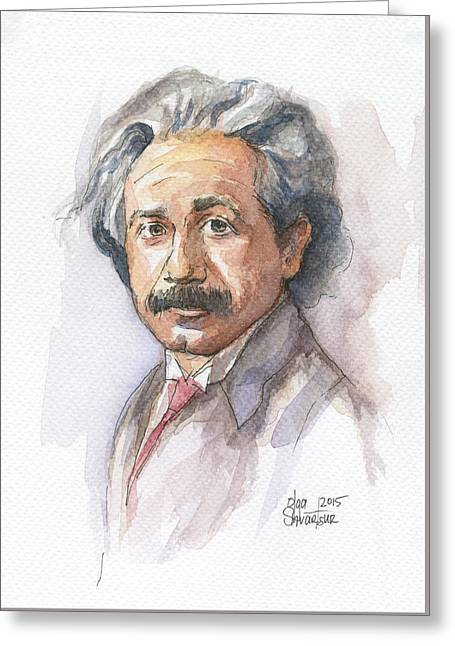 Albert Einstein Greeting Card by Olga Shvartsur