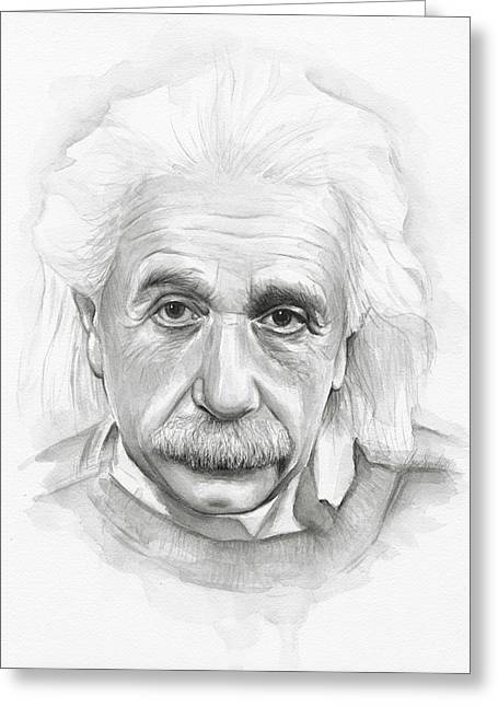 Albert Einstein Portrait Greeting Card by Olga Shvartsur