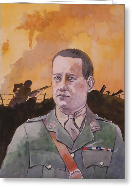 Greeting Card featuring the painting Albert Jaka Vc by Ray Agius