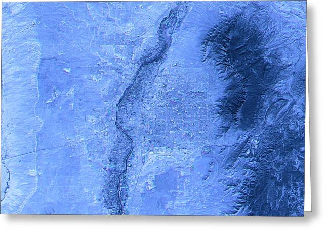 Albuquerque Abstract City Map Satellite Image Blue Greeting Card