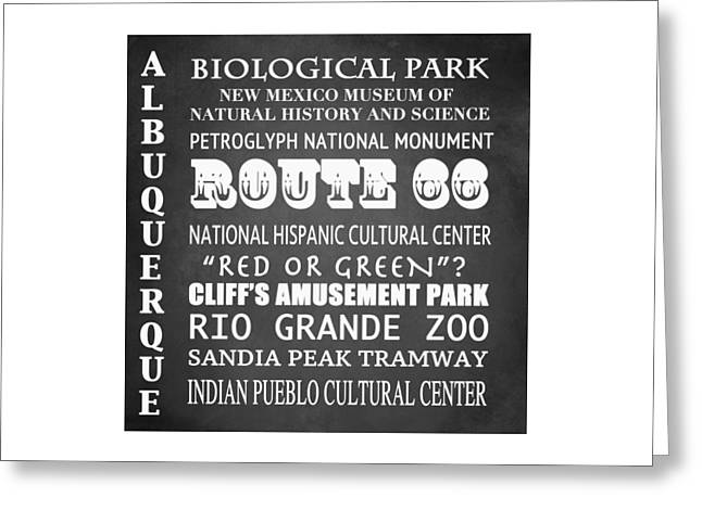 Albuquerque Famous Landmarks Greeting Card by Patricia Lintner