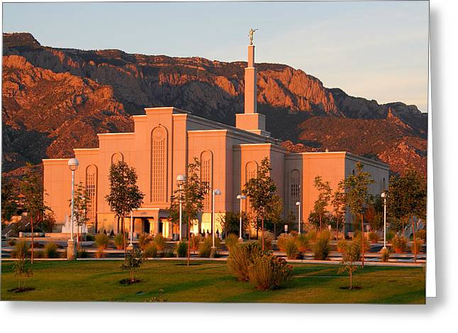 Albuquerque Lds Temple At Sunset 1 Greeting Card