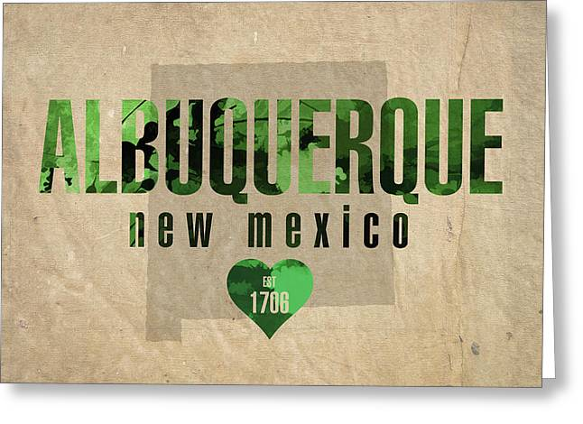 Albuquerque New Mexico City Love Established 1706 Series 005 Greeting Card by Design Turnpike