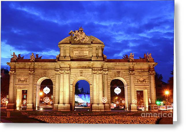 Alcala Gateway At Blue Hour Madrid Greeting Card