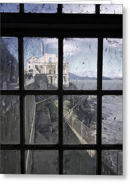 Alcatraz Greeting Cards - ALCATRAZ ESCAPE BEACH from GUARD HOUSE Greeting Card by Daniel Hagerman