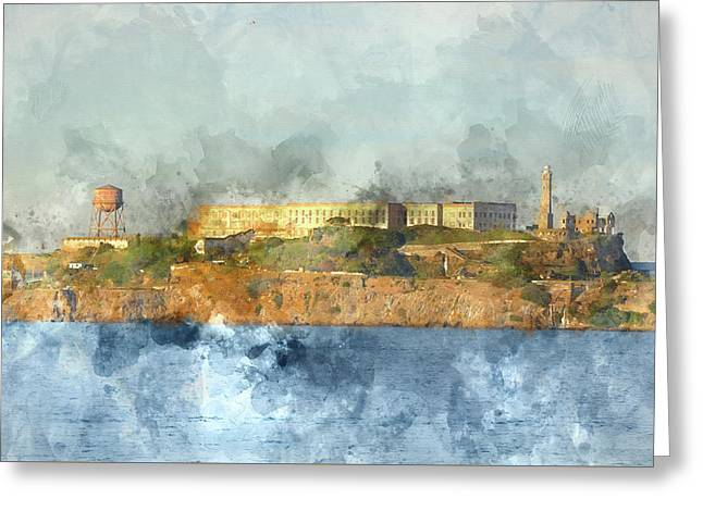 Alcatraz Island In San Francisco California Greeting Card by Brandon Bourdages