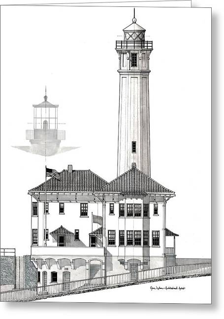 Alcatraz Island Lighthouses - Black And White Greeting Card by Gene Nelson
