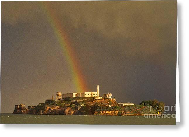 Alcatraz Island San Francisco Bay  Greeting Card by Nancy Hoyt Belcher