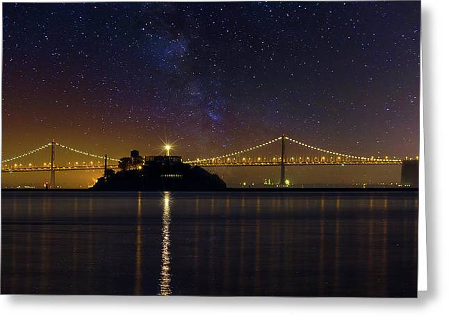 Alcatraz Island Under The Starry Night Sky Greeting Card by David Gn