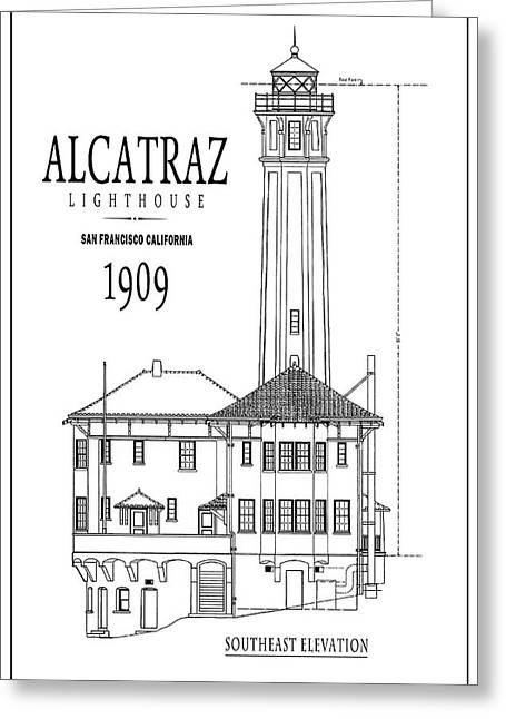 Alcatraz Lighthouse Architectural Drawing Minimal Greeting Card by Daniel Hagerman