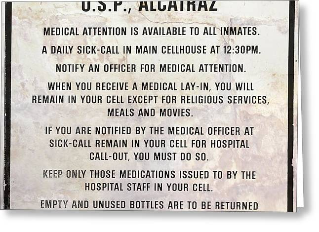 Alcatraz Prison Hospital Rules Greeting Card by Jon Neidert