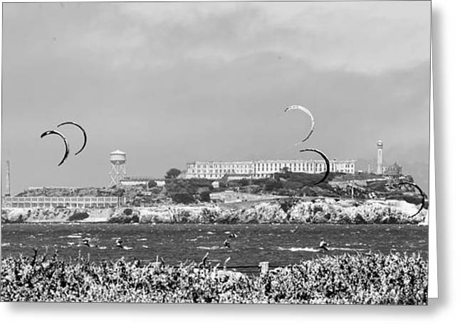 Alcatraz Prison Kite Surfing  Greeting Card by Chuck Kuhn