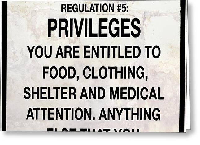 Alcatraz Prison Privileges Sign Greeting Card