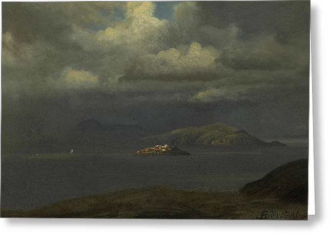 Alcatraz, San Francisco Bay Greeting Card by Albert Bierstadt