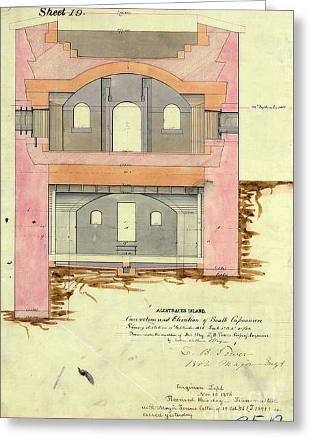Alcatraz South Capniere Drawing 1856 Greeting Card by Jon Neidert