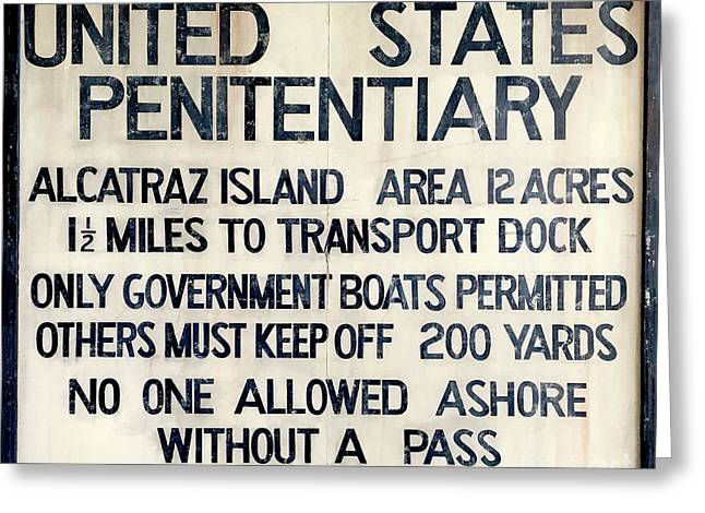 Alcatraz Welcome Sign Greeting Card by Jon Neidert