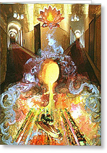 Mystical Landscape Mixed Media Greeting Cards - Alchemy Greeting Card by Anne Cameron Cutri