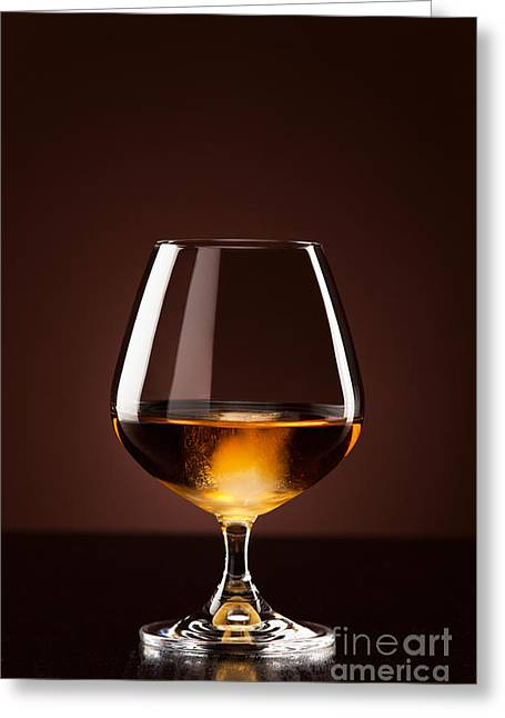 Alcohol With Ice Cubes In Snifter Greeting Card by Wolfgang Steiner