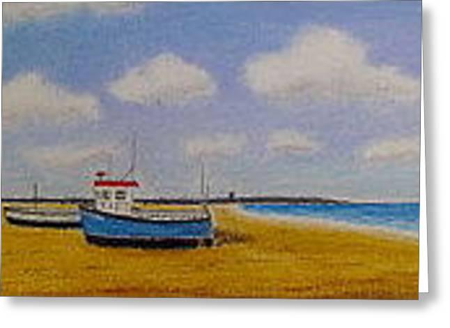 Aldeburgh Beach, Suffolk - Oil Pastel   Greeting Card