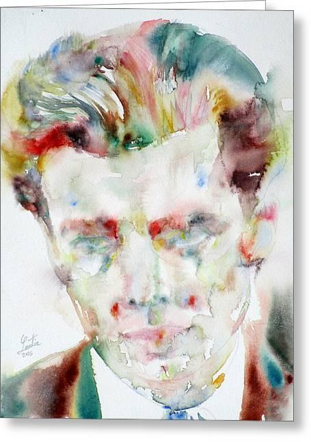 Aldous Huxley - Watercolor Portrait.3 Greeting Card