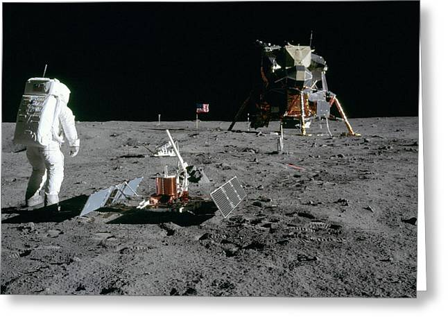 Aldrin Looks Back At Tranquility Base  Greeting Card by Paul Fearn