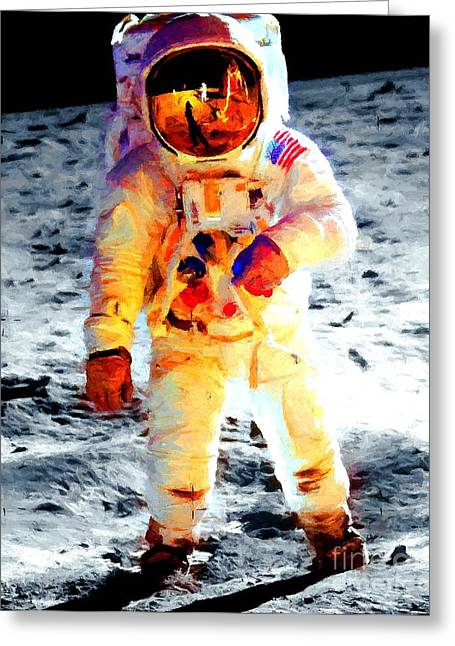 Aldrin Walks On The Surface Of The Moon During Apollo 11 / Art Prints For Sale Greeting Card by Art Gallery